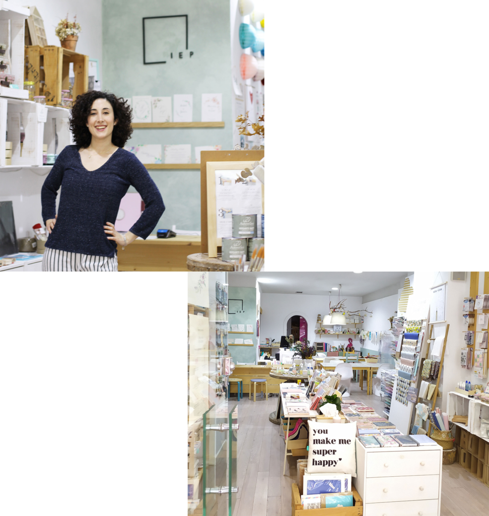 Foto de Elisa, propietaria de Ideas en polvo y una foto de la tienda-taller.